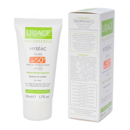 Uriage Hyseac: Исеак солнцезащитная эмульсия SPF 50+ (Hyseac Fluide Tres Haute Protection SPF 50+)