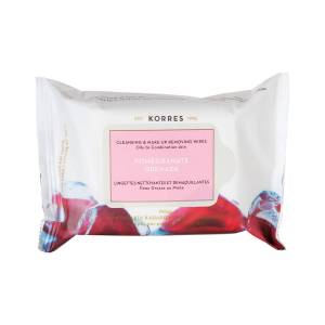 Korres Cleansers: Салфетки для снятия макияжа с гранатом (Pomegranate Cleansing And Demake Up Wipes), 25 шт